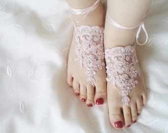 Barefoot sandals, Powder Pink Shoes, Weddings sandals, womens shoe, Beach wedding anklet, Bridal barefoot sandles