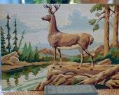 set of two vintage paint by number deer paintings buck and doe