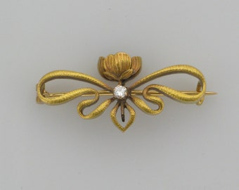 18 Karat Yellow Gold Late Victorian Diamond Floral Pin