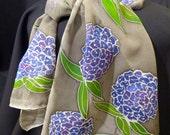 Purple Hydrangeas on Silk