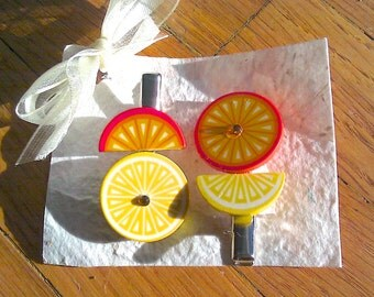 Funky Citrus Hairclips (Orange-Yellow)