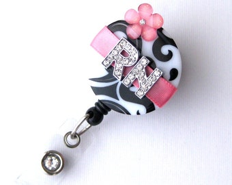 Custom Rose RN Blossom Bling - Designer Name Badge Reel - Unique ID Badge - Stylish Badge Clip - Personalized Nurse Jewelry - BadgeBlooms