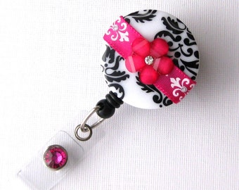 Fuchsia Blossom Damask - Retractable ID Badge Reel - Chic Badge Holder - Fancy Badge Reels - Gift Idea - BadgeBlooms
