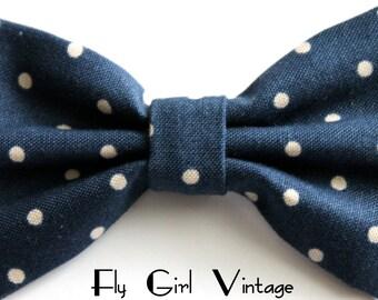 1940's Style-Girl-Navy-Blue- Polka-Dot-Print-Fabric-Hair-Bow-Clip-Pin-Up-1950's-Rockabilly-Nautical-For Women, Teen, Girls-Kids-baby