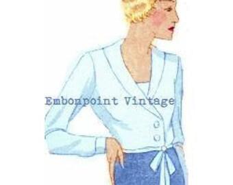 Plus Size Pattern (or any size) Vintage 1934 Blouse - PDF - Pattern No 96 Felicita