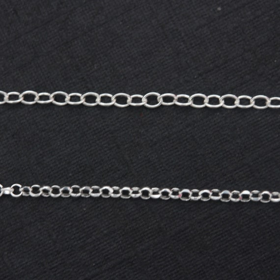 Sterling silver Italy Rolo OR Cable Chain, 16 or 18 inches with spring ring clasp