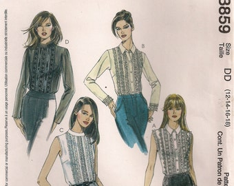 McCall's Sewing Pattern 3859 - Misses' Blouses (6-12, 12-18)