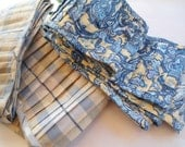 Blue floral design pleated trim-Grey and light yellow Trim