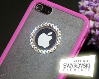 iPhone 5 5S using 100% SWAROVSKI ELEMENTS Crystal Bling Black/White/Hot Pink tpu Clear Hard Skin Case Cover