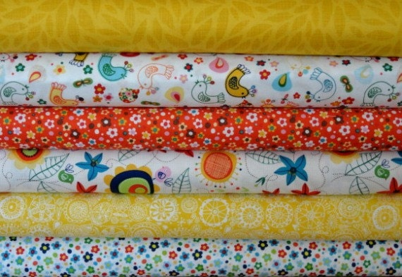 ONLY 2 LEFT Carolyn Gavin Fabric 6 Fat Quarter Bundle Spring Street in Yellow and Orange
