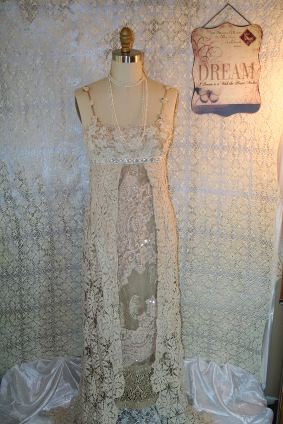 Upcycled Wedding Dress Bojo Gypsy Dress Tattered Shabby Chic