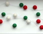 Felt ball garland - white red green