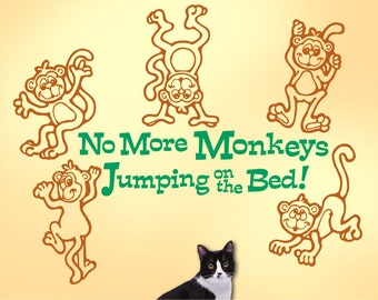 Wall Decal: No More Monkeys Jumping on the Bed with Five Monkeys