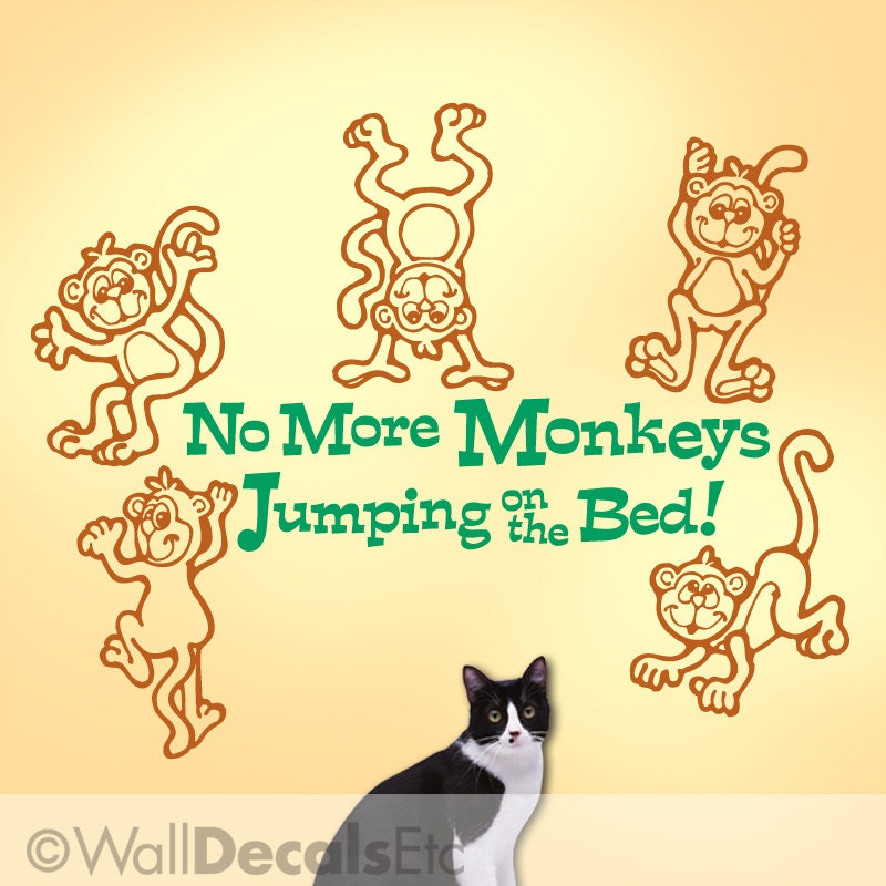 wall decal no more monkeys jumping on the bed with five