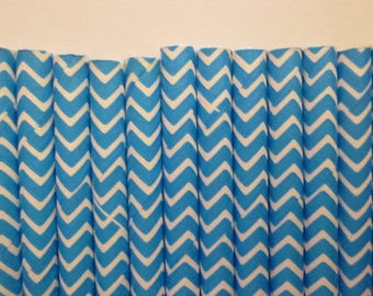 25 Bright Blue Chevron Paper Straws- Blue Chevron, Zig Zag Straw- Baby Shower Decorations- Cookie Monster Party