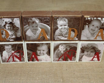 Gifts for Nana Grandparents gift CUSTOM PHOTO BLOCKS Unique Birthday Christmas Gift  - Set of 4 Blocks