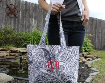 X-LARGE Navy blue and white PAISLEY Handbag/ Diaper Bag/ Purse/ Tote/ Beach Bag with Red Interior