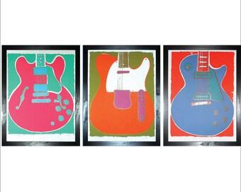 Guitar Triptych - Set of Three Original Limited Edition Guitar Prints