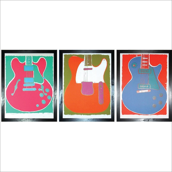 Guitar Triptych - Set of Three Original Limited Edition Guitar Prints