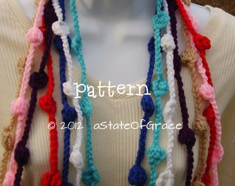 Bobble Lariat Scarf PATTERN, Crochet, Bunting, Garland, INSTANT DOWNLOAD