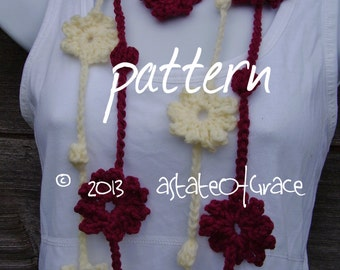 Flower Lariat Scarf PATTERN # 2, Skinny Scarf, Spring Flower Scarf, Crochet, INSTANT DOWNLOAD