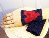 Hanknitted Wrist Warmers, Heart Wrist Warmers, Navy Blue and Red Wrist Warmers, Unisex, UK seller - evefashion