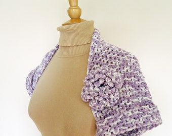 Crochet Ladies Bolero, Lavender Bolero, Flower Bolero, UK Seller