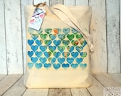 Vintage Map Hearts Tote Bag, Ethically Produced Reusable Shopper Bag, Cotton Tote, Shopping Bag, Eco Tote Bag