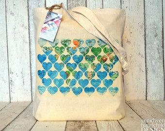 Vintage Map Hearts Tote Bag, Ethically Produced Reusable Shopper Bag, Cotton Tote, Shopping Bag, Eco Tote Bag, Stocking Filler, Map Art