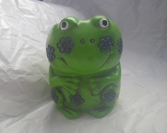 Funky Smiling Green Frog Figurine Chalkware With Flowers Groovy Kitsch Retro Green Blue
