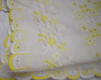 Vintage Eyelet Lace Table Runner Yellow and White Fabric Extra Long 52 inches Summer Table Entertaining Linens 52 x 13 inches