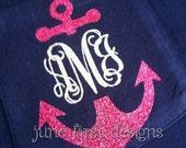 Monogram Pocket  Anchor Glitter Tee T-Shirt