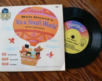 vintage Tunes ... Walt Disney ITS a SMALL World Book and 45 RECORD  ...