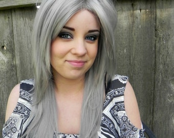 ON SALE // Silver Grey / Long Straight Layered Wig Halloween Holiday