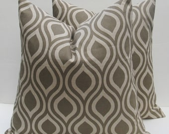 Tan Pillow Decorative Throw Pillow Tan Pillow Cover 16x16 Pillow Cover Decorative Throw Pillows set of TWO Printed Fabric both sides