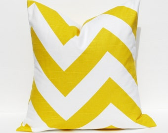 Pillow Throw Pillow Cover 16x16 Yellow Pillow Chevron Pillow Large Chevron Printed Fabric on Front and Back.Housewares.Pillows.Cushions