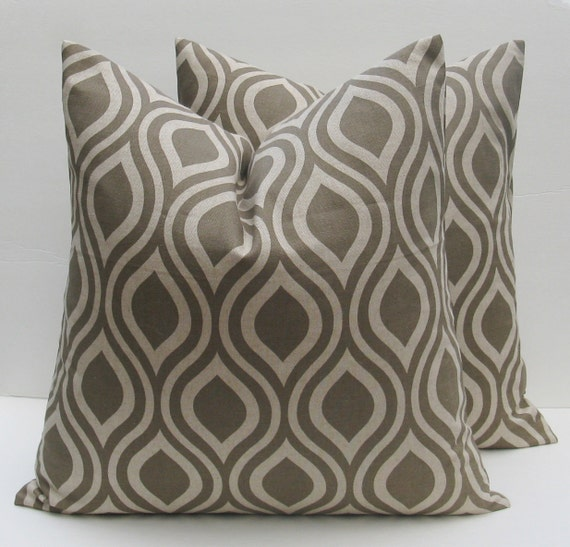 Fabric For Throw Pillow Covers : Items similar to 20x20 Throw Pillow Covers Light Taupe Pillow Covers Geometric Printed Fabric ...