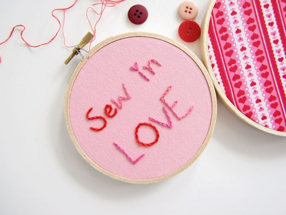 "Embroidery Hoop Romantic Wall Art Set of Two - ""Sew in Love"" in red and pink, hearts, Valentines Day gift, wedding prop, holiday decoration"