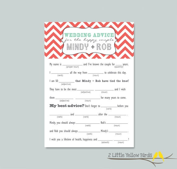 Wedding Advice: Wedding Advice Card MAD LIBS Chevron