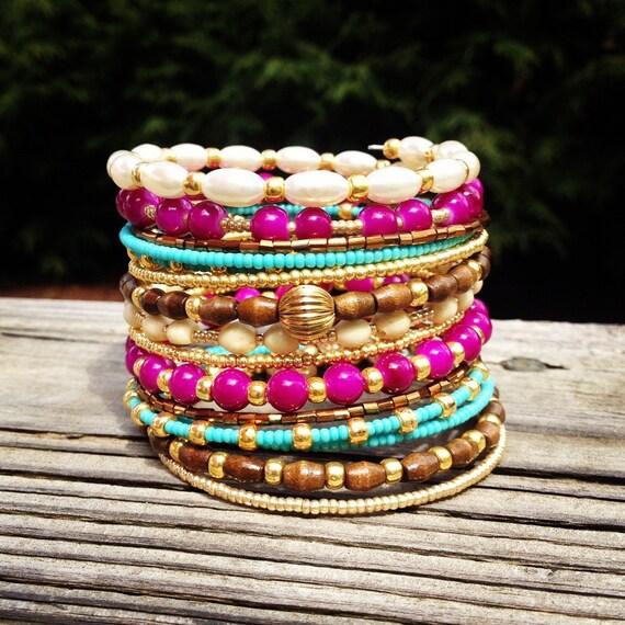 Beaded Wrap Bracelet, Wrap Bracelet, Memory Wire Bracelet, Beaded Bracelet Cuff, Stacked Bracelet