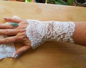 white lace gloves, Cuffs ,French Lace ,Bridal Gloves, Fingerless cuffs, sleeves, arm warmers ,womens wedding accessory