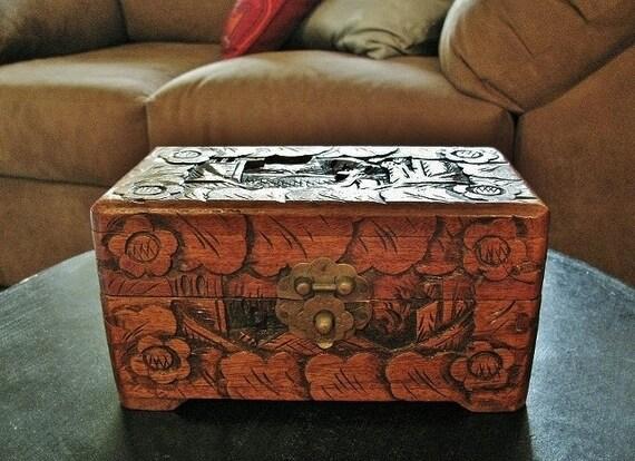 Antique Hand Carved Oriental Cedar Wood Box