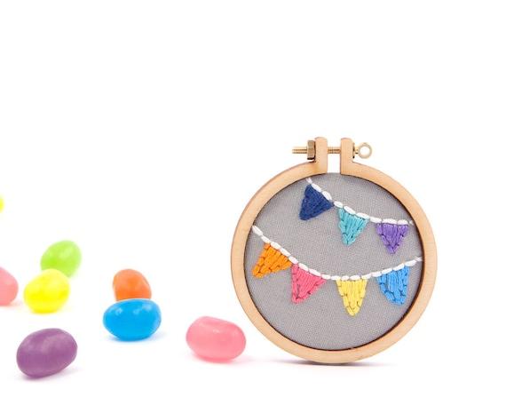 Bunting embroidery hoop brooch - navy, spearmint, purple, orange, pink, yellow, blue - miniature hoop - made with love by dandelyne