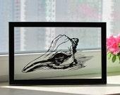 Seashell Handmade Original Papercut Gift: Hand Paper Cut Art Silhouette (UNFRAMED)