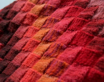 Hand Knit Blanket in 25 Shades of Warm Colors: Red,Orange ,Wine,Ochre and Brick.Pure Merino Hand Dyed Soft Wool Yarn.Entrelac Textured throw