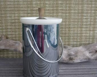 Vintage Kromex Mid Century Modern Chrome Ice Bucket, Retro Barware