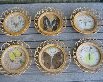 Vintage Bamboo Coaster Set with Caddy, Butterfly Design