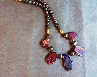 Purple and pink primitive agates with fresh water pearls and gold vermeil beads