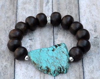 Bold Turquoise Nugget Statement Bracelet by BeadRustic | FREE SHIPPING