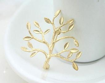 5 pcs raw Brass plating gold tree brooch  cab  finding